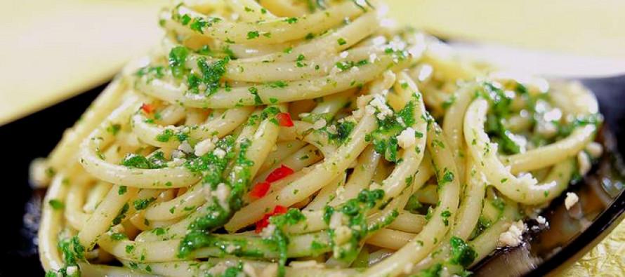 Spaghetti met huisgemaakte pesto