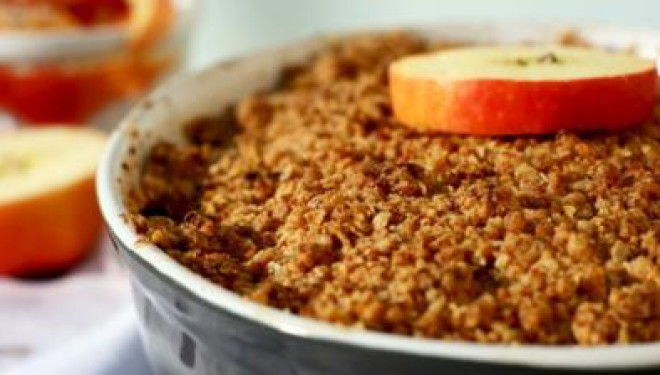 Crumble van cranberries en appel