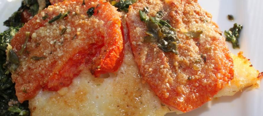 Gebakken Kabeljauwfilet met spinazie en tomaten