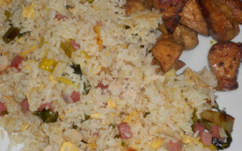 Pikante Aziatische gewokte kip met nasi