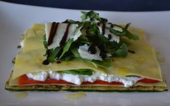 Open lasagne met geroosterde puntpaprika en courgette