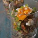 Champignontartaar met spekjes en balsamico