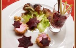 Een feestje op je bord met rode biet, granité van biet, geitenkaas en hazelnoten