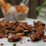 Geroosterde mosselen met bacon kruidenkorst