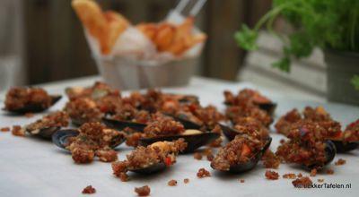 geroosterde mosselen met bacon kruidenkorst oven