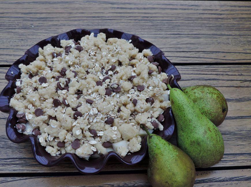 Peren chocolade crumble