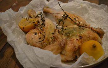 Gebraden kip met knoflook en tijm