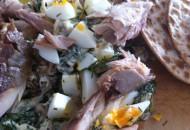 Salade gerookte makreel met ei