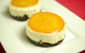 Cheesecake met witte chocola, sinaasappel en Oreo-koekjes